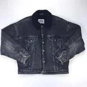 RARE 90s Levis All Black Sherpa Denim Jacket L